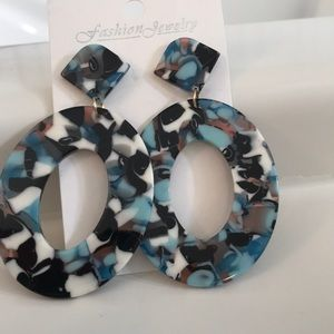 Shades of blue lucite acrylic hoops
